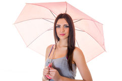 Girl with pink umbrella Royalty Free Stock Photography