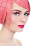 Girl in pink wig Stock Photos