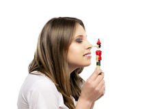 Girl with pinocchio royalty free stock photo