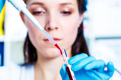 Girl with a pipette. In the Genetics Laboratory. Problem study of the human genome an ethical issue royalty free stock photography