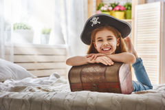 Girl in a pirate costume Stock Photos