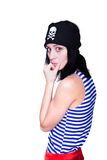 Girl in a pirate costume for the holiday Stock Image