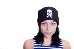 Girl in a pirate costume for the holiday Stock Photos