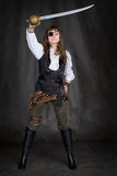 The girl - pirate with eye patch Stock Photo