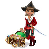 Girl pirate with treasure chest. Vector illustration Stock Photos