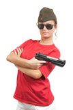Girl with a pistol Royalty Free Stock Photo