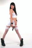 The girl and a pistol Stock Photos