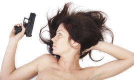 The girl with a pistol Stock Photo