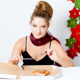 Girl with pizza Royalty Free Stock Image