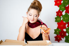 Girl with pizza Royalty Free Stock Photos