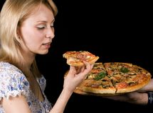 GIRL WITH  PIZZA Royalty Free Stock Images