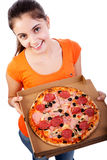 Girl with pizza. Women with pizza in a  box  isolated on white background Stock Image