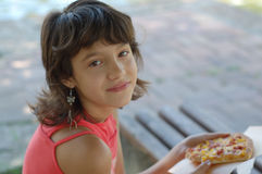Girl pizza royalty free stock photo