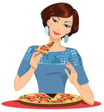 Girl in the pizzeria. Girl eating pizza - vector illustration Royalty Free Stock Photo
