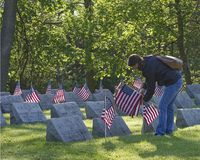 Girl placing flags at the graves of fallen soldiers stock images