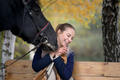 Girl in a plaid with a black horse in the autumn under a birch tree on a bench Royalty Free Stock Photos