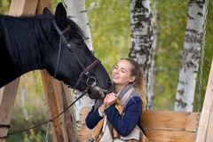 Girl in a plaid with a black horse in the autumn under a birch tree on a bench Royalty Free Stock Image