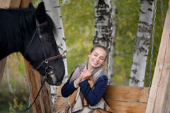 Girl in a plaid with a black horse in the autumn under a birch tree on a bench Stock Images