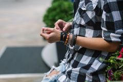 A girl in a plaid shirt royalty free stock photography