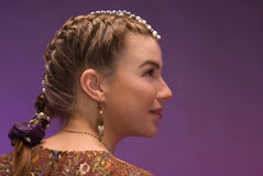 Girl with plait Royalty Free Stock Photo