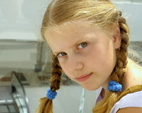 The girl with plaits. Royalty Free Stock Photography