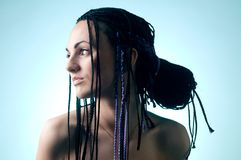 The girl with plaits royalty free stock image