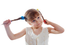 Girl with plaits royalty free stock photos