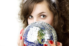 Girl and planet Earth. Royalty Free Stock Image