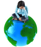 Girl on the planet Royalty Free Stock Image