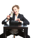 Girl plans to budget. Dollar said. She is counting Royalty Free Stock Images