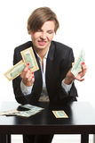 Girl plans to budget. Dollar said Stock Photos