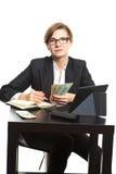 Girl plans to budget. Dollar said Royalty Free Stock Image