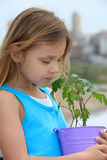 Girl with plant Stock Photography