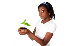 Girl with plant in hand royalty free stock images