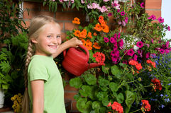 Girl planting Stock Images