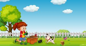 A Girl Planting at Garden with Dog. Illustration royalty free illustration