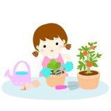 Girl planting healthy organic vegetable cartoon. Illustration stock illustration