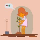Girl planting new tree,. Illustration vector illustration