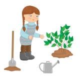 Girl planting a shrub. Little girl planting a shrub. Vector illustration vector illustration