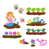 Girl planting things and working in the garden. Vector illustration isolated on white background vector illustration