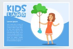 Girl planting young tree, eco concept, kids land banner flat vector element for website or mobile app Stock Photo