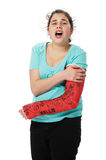 Girl with plaster cast Stock Images