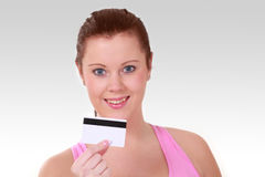Girl with plastic card Stock Photo