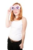 Girl with plastic glasses Stock Photo