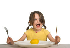 Girl with plate and lemon Royalty Free Stock Images