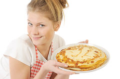 Girl with plate of Pancakes Stock Image
