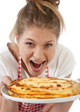 Girl with plate of Pancakes Stock Photography