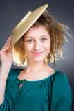 Girl with a plate Royalty Free Stock Image