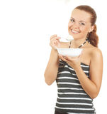 Girl and plate with pot cheese stock photos