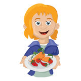 Girl with a plate Stock Photography